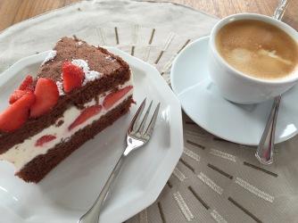 Schoko Erdbeertorte Kaffee