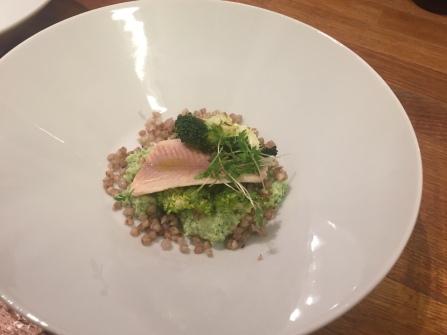 In Heubuttermilch pochierte Forelle auf 2erlei Broccoli und Buchweizen