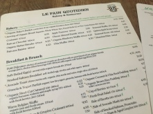 Le pain quotidien Menu Speisekarte New York