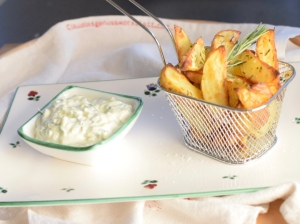 Tsatsiki, Wedges, Ofenkartoffel, Erdäpfelwedges
