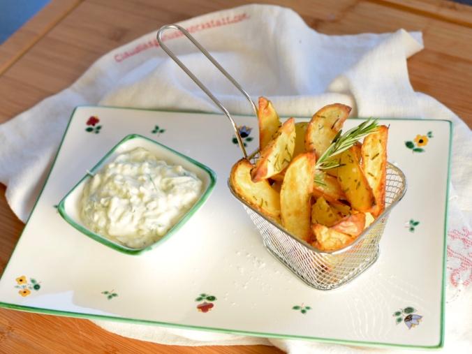 Tsatsiki, Zazaki, Erdäpfelwedges, Wedges, Kartoffelwedges, Ofenkartoffel, Ofenerdäpfel