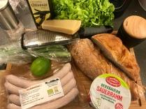 Caesar Salad Bratwurst Spargel Zutaten